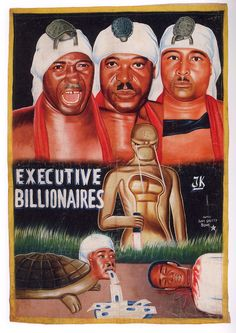 Executive Billionaires - an executive billionaire with a turtle on his head, a turtle with a billionaire executive's head vomiting money (?) while an evil Acedemy award zaps it with lazers - two thumbs up!