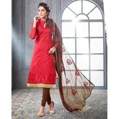 Chanderi Cotton Red Churidar Suit Dress Material - 16508