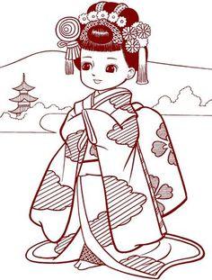 VINTAGE JAPANASE COLORING BOOK <<< ENGLISH <<>> COLORIAGE ANCIEN JAPON MALBUCH COLOREAR <<< JAPANESE