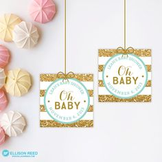 Gold & Pink baby shower favor tags are sold as a digital printable file that you print yourself. Favor tags come 12 to an 8.5 x 11 size page. Each