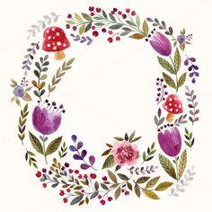 Big watercolor floral collection by MoleskoStudio on @creativemarket