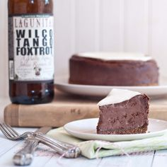 Chocolate beer cheesecake with pretzel crust.