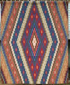 """Native Harvest"" quilt pattern at Quilts by Candace.  Inspired by a rug design. Bargello with a Southwestern flair."