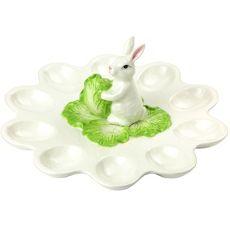 Cabbage Bunny Ceramic Deviled Egg Plate