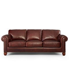 Lauren Ralph Lauren Leather Sofa, Stanmore - Couches & Sofas - furniture - Macys. could be fun for an office if i didn't have finn!