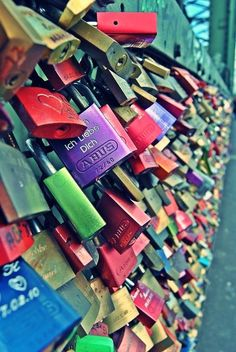 Love locks ~ Paris! My boyfriend and I saw these when we were there!!! It is really neat to see :)