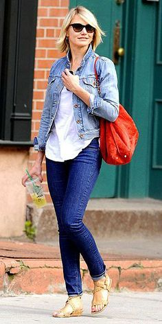 how to wear a denim jacket: Don't be afraid of denim-on-denim! If you're going to go for it, just make sure you pair different washes, like Cameron Diaz did here.