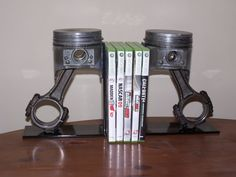 Piston bookends- A combination of my 2 favorite things in life!