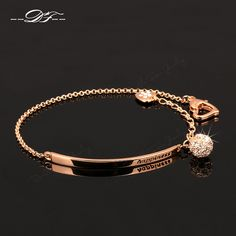 Double Fair OL Style CZ Diamond Ball Fashion Party Charm Bracelets & Bangles Rose Gold Plated Crystal Jewelry For Women DFH196