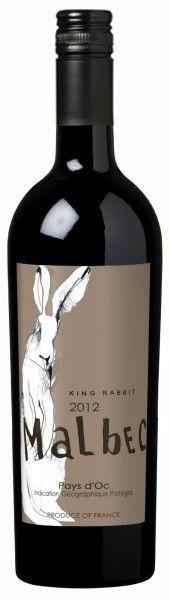 King Rabbit Malbec #stilovino - This is just a rectangular label, yes, but the tallness and slenderness of the bottle are echoed in the rabbit. In my opinion, this wine label boasts quality without fancy shapes or shiny details.
