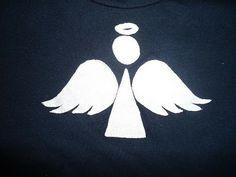 camiseta decorada con aplicaciones en tela aplique angel