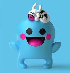 Jouets design bleu smile vache fantôme