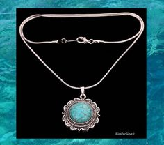 NEW - BOHEMIAN CIRCULAR SHAPED TURQUOISE PENDANT NECKLACE ON SILVER SNAKE CHAIN #Pendant