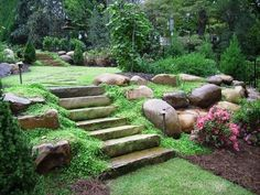 If the terrain is uneven in your backyard, then stone steps like this can really beautify the area.