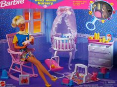 Barbie Baby Home Nursery Playset w Baby Doll & Accessories (1998 Arcotoys, Mattel)