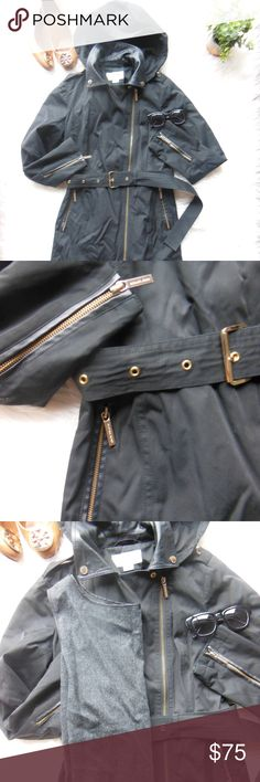 Michael Kors Black Rain Jacket Trench Leather Gold - Accepting all fair offers! - Size XS - Asymmetrical zipper: gold - Faux leather detailing (shown in 2nd picture) and also with faux leather collar - Rain jacket with interior wool blend liner - Removable hood - As with all my items, I will steam before sending! Jackets & Coats