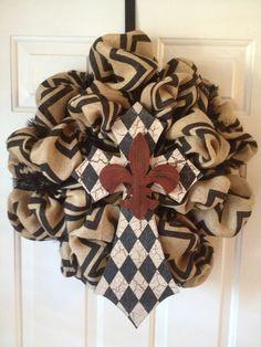 Chevron Burlap Wreath by DazzlinDoorzbyKristi on Etsy, $85.00