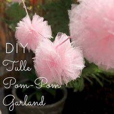 DIY Tulle Pom Pom Garland for a bridal shower or baby shower Tulle Garland, Tulle Poms, Pom Pom Garland, Pink Tulle, Garlands, Garland Ideas, Party Garland, Tulle Tutu, Tulle Fabric