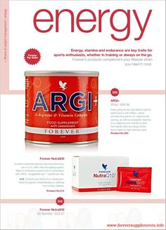 Energy, stamina and endurance are key traits for sport enthusiasts, whether in training or always on the go. Forever Liiving Products, ARGI +, www.awhl.co.uk