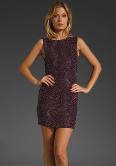Alice + Olivia - Brittany beaded cap sleeve dress. $550. Eye-ing this one up for a wedding in April.