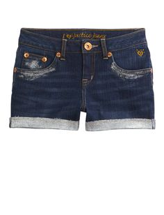 Glitter Hem Denim Short | Shorties 2½ Inseam | Shorts | Shop Justice
