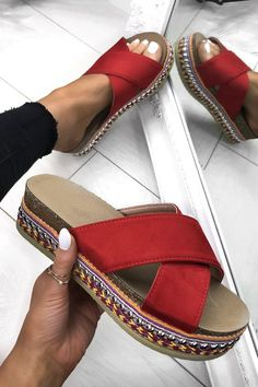 Slay everyday in our new RED ALESSANDRA flatforms. Perfect for those long Summer… Slay everyday in our new RED ALESSANDRA flatforms. Perfect for those long Summer nights. Cute Sandals, Cute Shoes, Me Too Shoes, Shoes Sandals, Shoes Sneakers, Mode Converse, Studded Heels, Dream Shoes, Mode Style