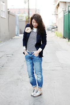 blazer + stripes + boyfriend jeans