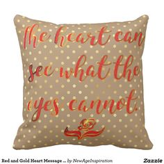 Red and Gold Heart Message on Polka Dots Throw Pillows