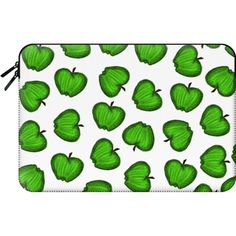 Macbook Sleeve - Bright Green Hand Drawn Granny Smith Fruity Apples... (€54) ❤ liked on Polyvore featuring accessories, tech accessories and macbook sleeve