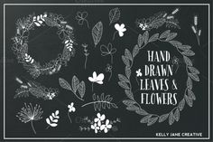 Check out Hand Drawn Flowers & Foliage B&W by Kelly Jane Creative on Creative Market