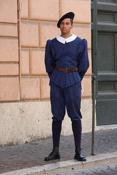 Swiss Guard in regular duty uniform at the Vatican.  They have served in the capacity since 1506.