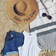 Beach look done right! We're obsessed with turkish towels, denim shorts and floppy hats this season Fashion Wear, Fashion Outfits, Floppy Hats, Beach Look, Turkish Towels, Summer Vibes, Panama Hat, Denim Shorts, Aesthetics