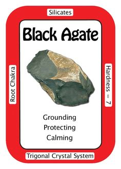 """""""I release emotional issues and they are gently healed."""" Black Agate, like all black stones, is a grounding and protective crystal. It gives a calming peace that helps those during a period of bereavement. Black Agate gives inner strength to move on and is also very helpful in keeping the peace in stressful households. This calming stone will keep one steady when faced with practical decision-making or when doling out tough love."""
