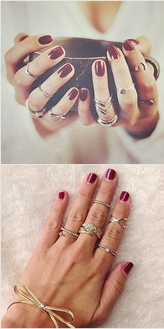 13 ways to style your rings - not usually into wearing so much jewellry, but this looks so pretty :)
