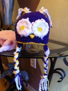 Baby Crochet LSU owl hat earflaps with braids by crochetbycandy, $25.00