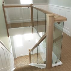 Refurbish staircase with glass balustrade Staircase Banister Ideas, Staircase Design, Staircases, Stair Railing, Bannister Ideas, Railing Ideas, Railings, Stairs Upgrade, Glass Stairs
