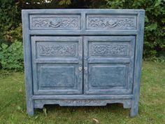 Vintage Carved Solid Wood Cabinet with Drawers Shabby Chic Blue by UpVamped