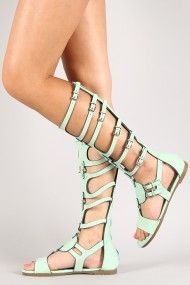 Roma-11 Buckle Strappy Gladiator Knee High Flat Sandal