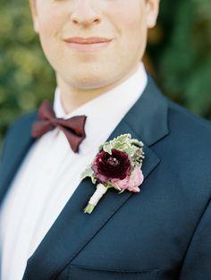 Burgundy boutonniere: http://www.stylemepretty.com/oregon-weddings/west-linn/2016/04/05/an-1887-farmhouse-played-host-to-this-rustic-garden-wedding/ | Photography: Sweetlife Photography - http://www.lovethesweetlife.com/