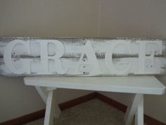 Grace White Wood letter pallet sign Rustic by KelseyNicoleDesignCo