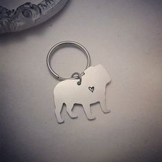 English Bulldog Keychain - Hand Stamped English Bulldog Key Chain - Bulldog Keychain - Heart Bulldog - I love my Bulldog -
