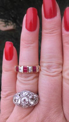 Beautiful 14k Gold Ruby Diamond Wedding Band - $499
