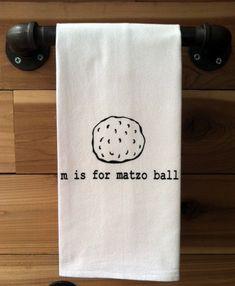 m is for matzo ball Kitchen Towel Tea Towel Flour Sack by garbella