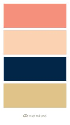 Coral, Peach, Navy, and Gold