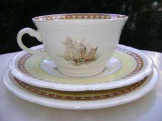 taza de té y platos porcelana inglesa vistas de londres 1920