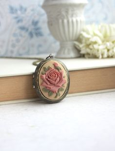 Large Carved Dusty Pink Brown Rose Flower Cameo Locket by Marolsha