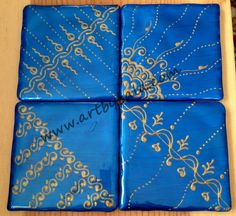 Iridescent blue with gold, Hand-painted henna-style coasters, with acrylics  resin, (c) Bala Thiagarajan, 2014