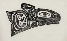"""Size: 7 x 11 inches. Killerwhale design: Transformation comes from """"With In. """" Hand-produced in the Moku Hanga, Japanese woodblock printing process. Native Canadian, Native American Art, Arte Haida, Tlingit, Native Design, Animal Totems, Aboriginal Art, Native Art, Western Art"""
