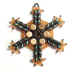 Shimmering Honeycomb Snowflake Ornament or Pendant by AnnaElizabethDraeger on Etsy