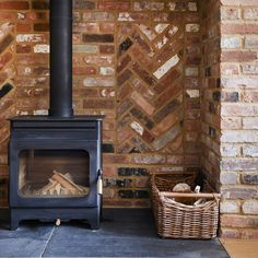 Log stove in inglenook fireplace. Building a cottage. By Potton, Self-Build Specialists Wood Burner Fireplace, Inglenook Fireplace, Rustic Fireplaces, Cosy Fireplace, Cottage House Designs, Country House Design, Cottage Style Homes, Log Burner Living Room, House With Land